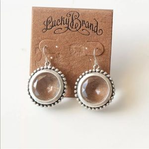 Lucky Brand antiqued silver crystal dangle earring